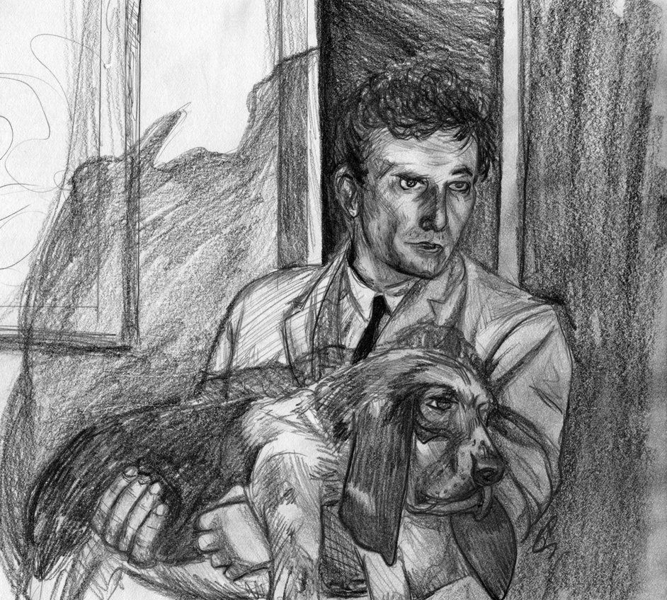 Peter Falk as Detetective Columbo and his dog, Dog.  I based my pencil sketch off of a screen shot.