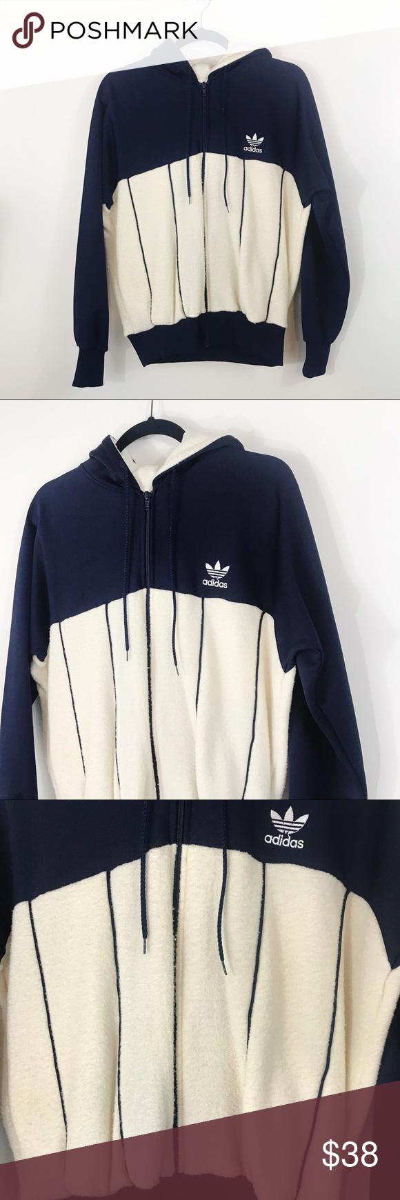 Adidas Vintage Fleece Zip Up Hoodie Jacket Large Vintage Adidas Hoodie Jacket Clothes Design [ 1740 x 580 Pixel ]