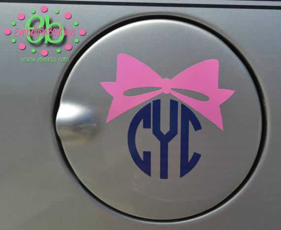 CIRCLE MONOGRAM With BOW Vinyl Car Decal Gas Tank Decal Circle - Bow custom vinyl decals for car