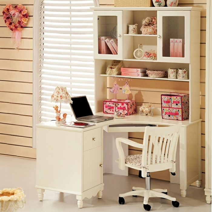 kinderzimmer m dchen schreibtisch wei regale rosa elemente shabby chic stil schubladen stuhl. Black Bedroom Furniture Sets. Home Design Ideas