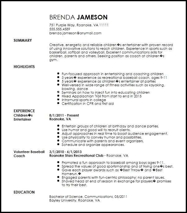 Free Creative Sports Coach Resume Example Resume Now