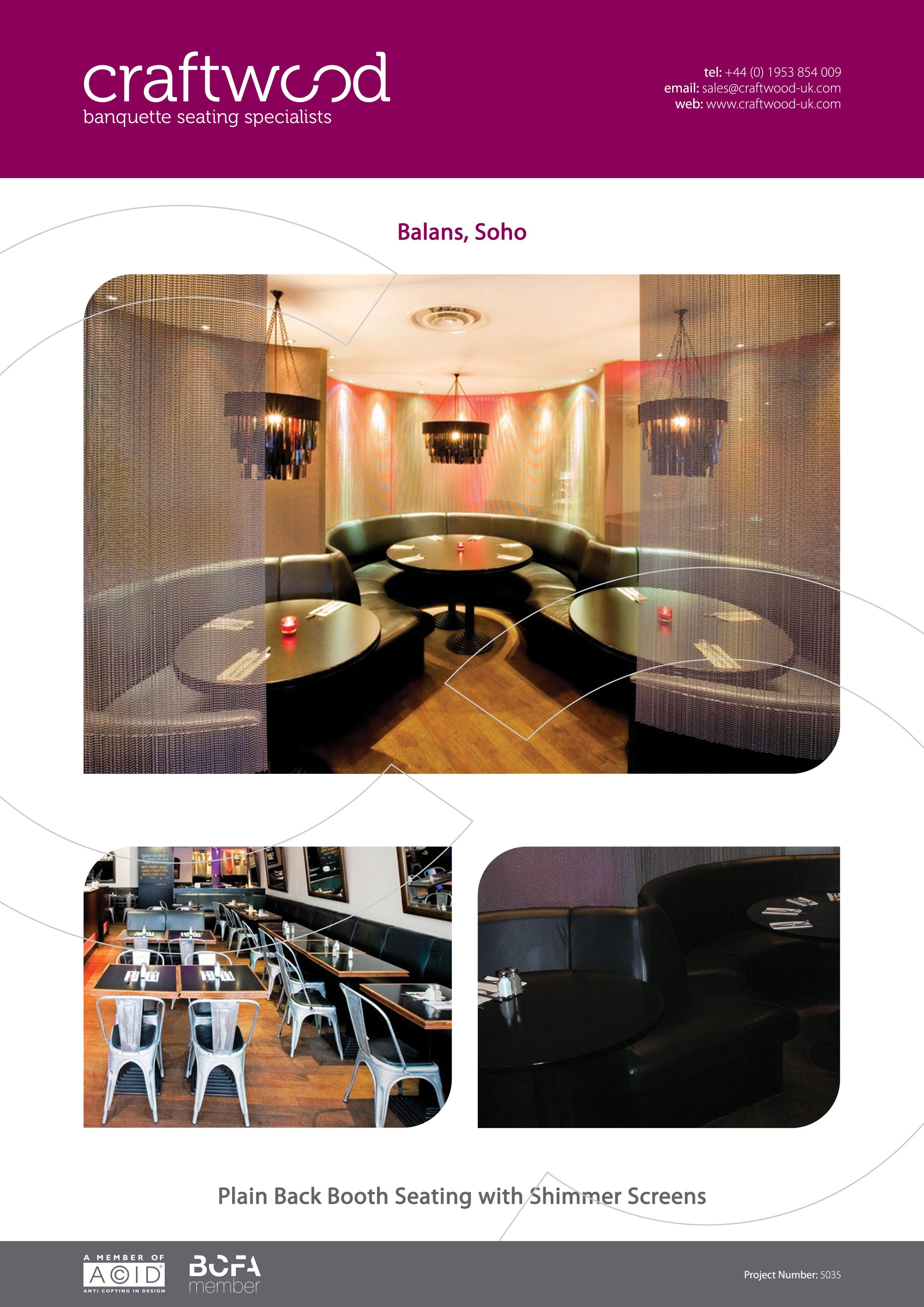 Balans, Soho. Plain back booth seating with shimmer screens.
