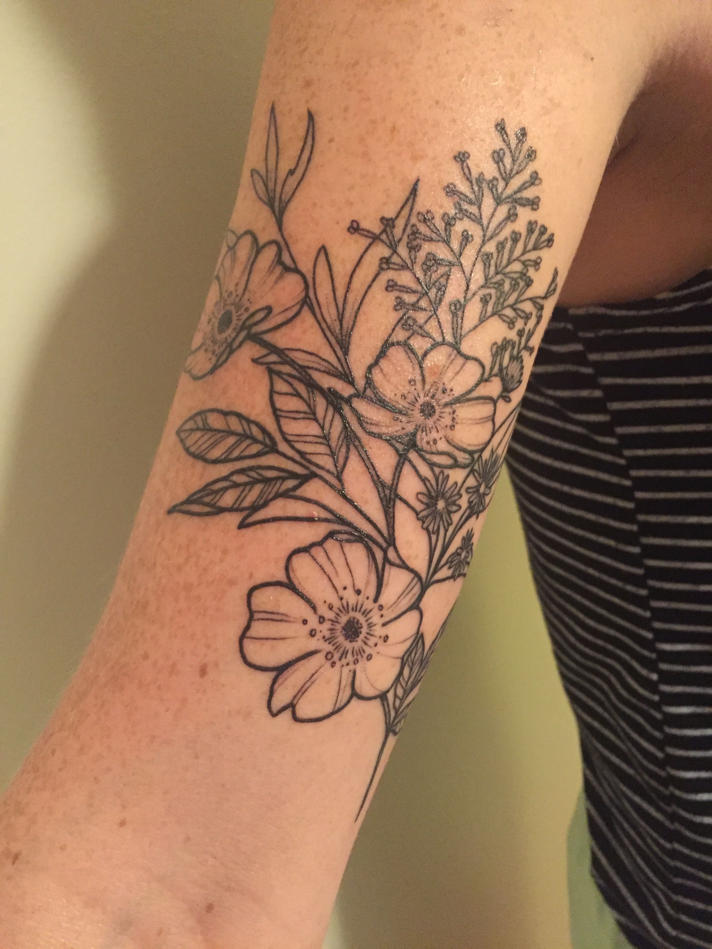 Floral Wildflower Arm Tattoo With Wild Rose Heather Aster Field