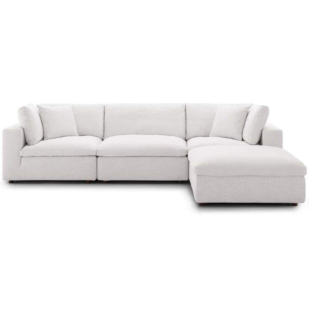Crux Down Filled Overstuffed 4 Piece Sectional Sofa Beige Modern Sofa Sectional Sectional Sofa Beige Modular Sectional