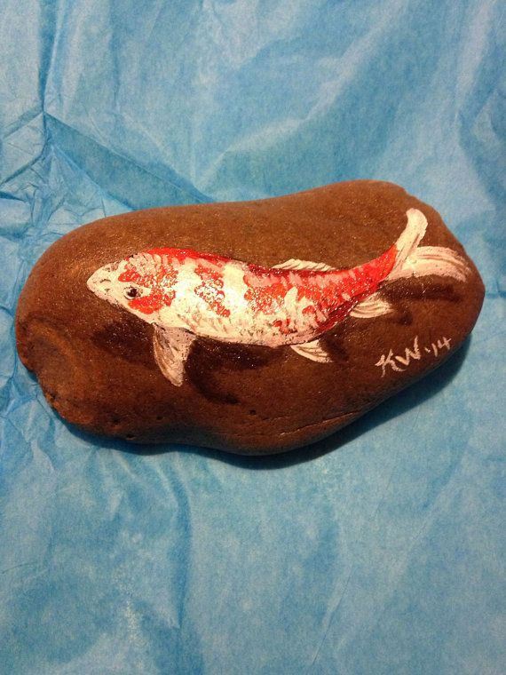 Koi Painted River Rock