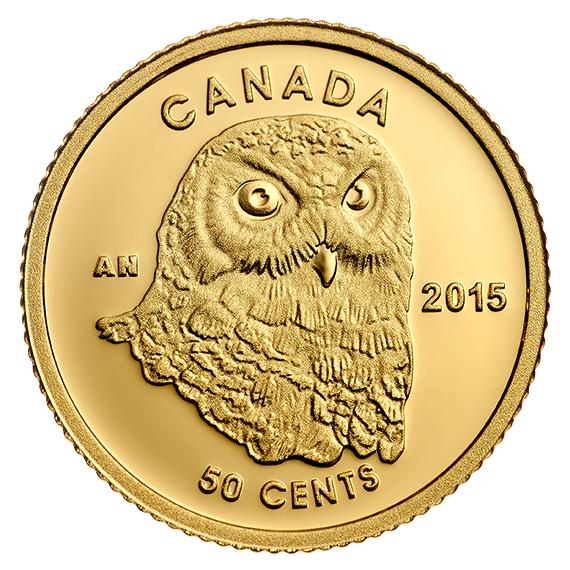 Owl - 1/25 oz. Pure Gold Coin (2015) - Mintage: 7,500
