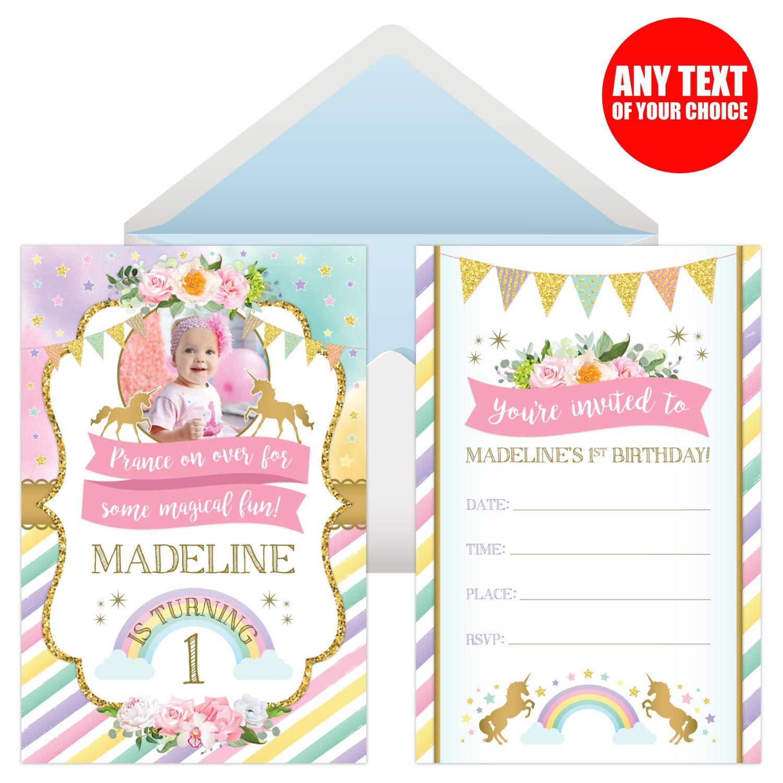 Unicorn Sparkle Personalized PHOTO Invitations - 8 Pk Party Supplies ...