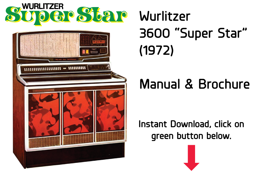 "Wurlitzer 3600 ""Super Star"" (1972) Manual Jukebox Manual available"
