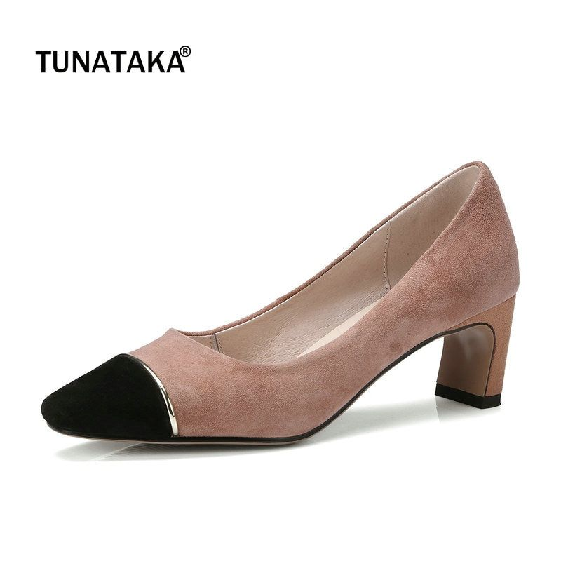 3f76edade014 Suede Comfort Square Heel Woman Lazy Pumps Fashion Mixed Color Square Toe  Dress High Heel Shoes