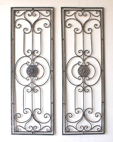 Abrianna Tuscan Large Scrolling Wrought Iron Wall Grille Set ...