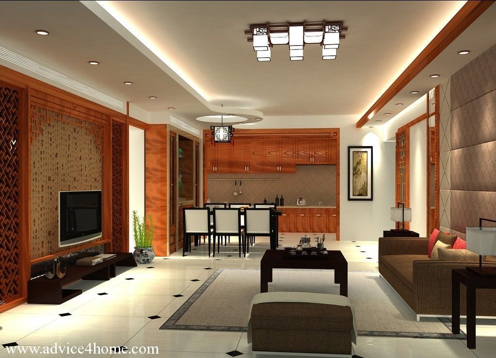 White False Pop Ceiling Design And Brown Sofa Set Design In Living Room
