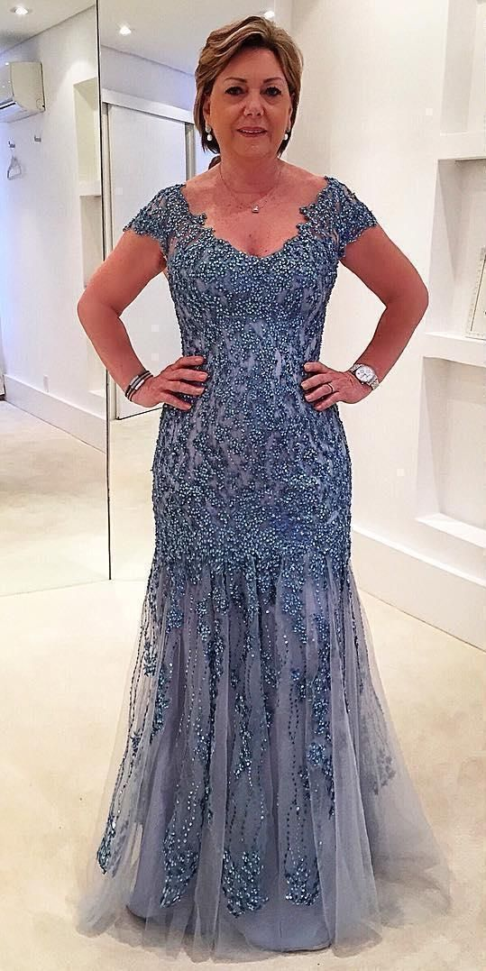 Plus Size Beaded Sequin Cap Sleeve Mother of the Bride Dress Formal Mermaid Gown
