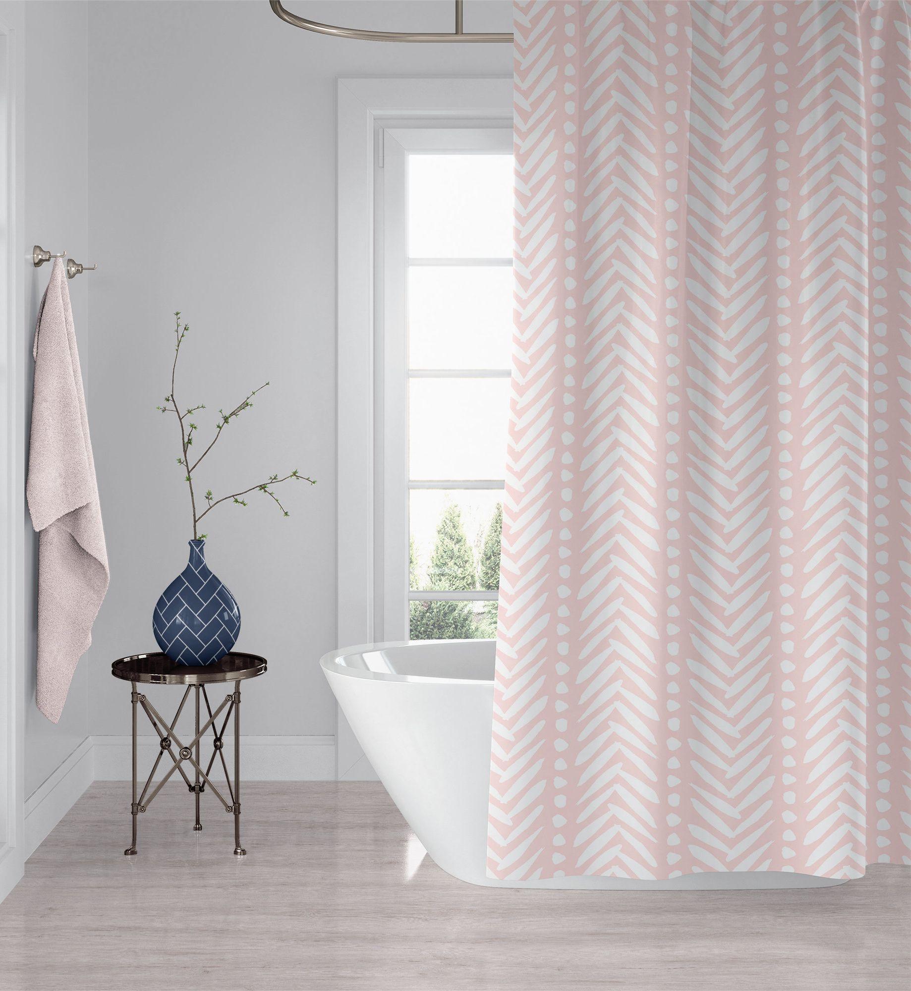 Light Rose Pink Herringbone Shower Curtain Blush Bohemian Fabric Bath Curtain Machine Washable 90x70 83x70 74x71 Custom Made Curtains Rose Lights Fabric Shower Curtains