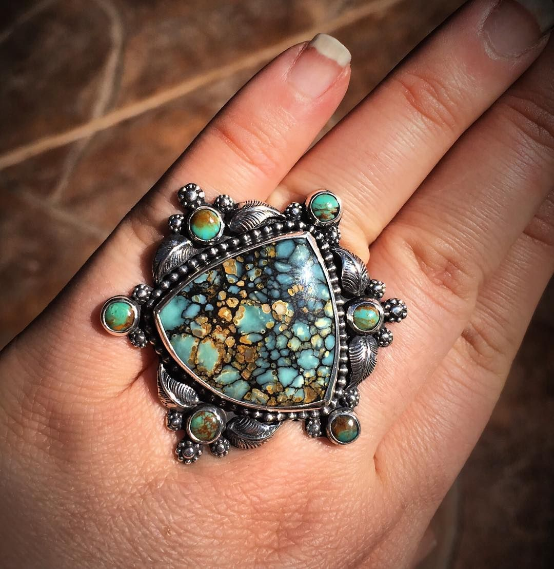 Another custom for the lovely @kellyalvarezmace Seven dwarf turquoise with small kingman rounds surrounds. Be still my soul, this 7d stone is soooo good. #turquoise #turquoisejewelry #turquoiseoverdiamonds #sevendwarfs #sevendwarfsmine #kingman #silversmith #metalsmith #blessed #magic #freepeople #fpme #freespirit #festival #ladysmith #instasmithy #bohochic #cowgirlstyle #southwestern #bohemian #hippie #dreamer #gypsy #gypsysoul #hippiestyle #zen #namaste #artisanjewelry