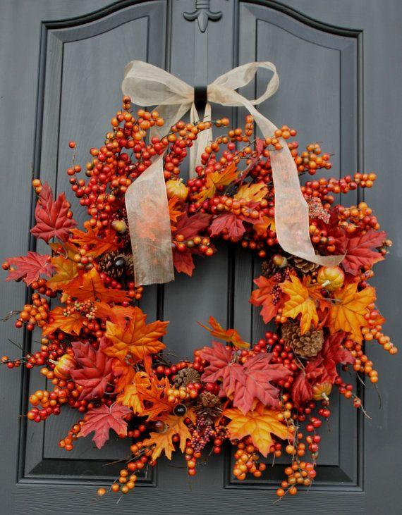 fall sale rustic fall wreath for door fall burlap. Black Bedroom Furniture Sets. Home Design Ideas