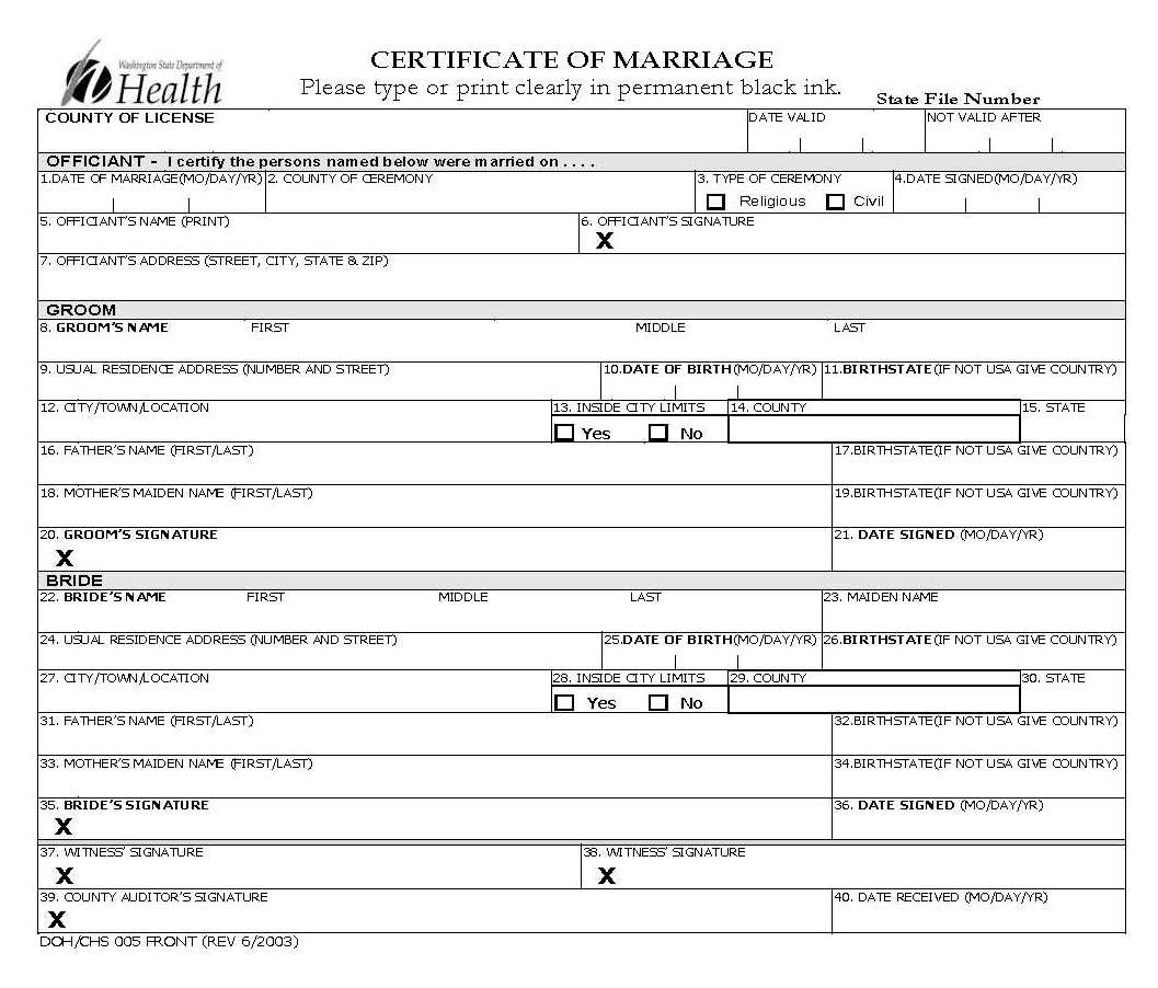 Blank marriage license to fill out with images