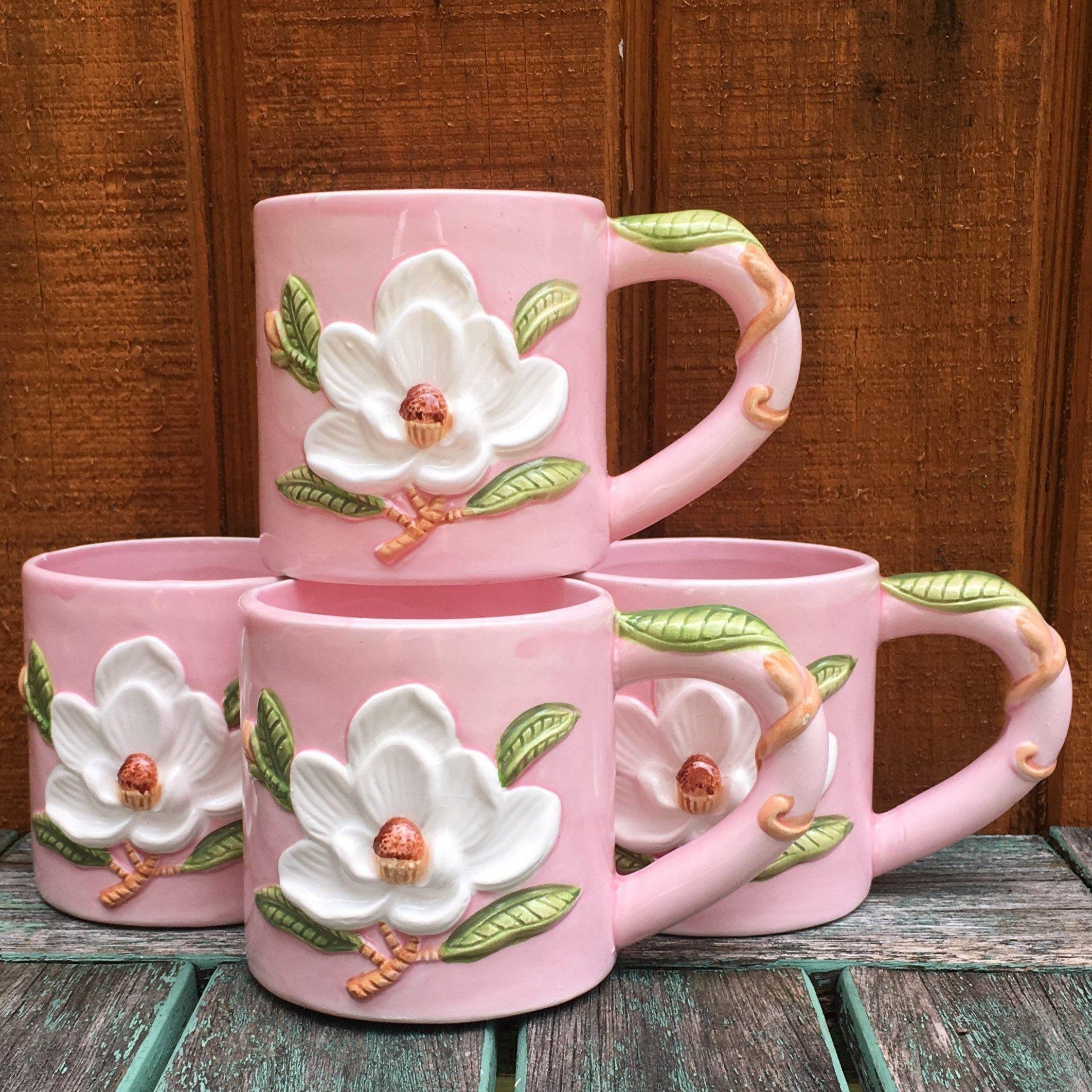 4pc ceramic pink coffee mug set with 3d magnolia design