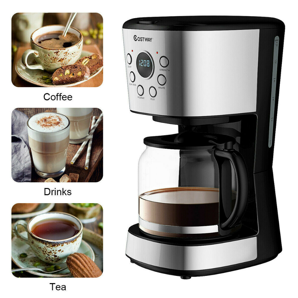 Details about 12Cup LCD Display Programmable Coffee Maker