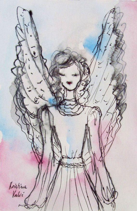 Angel Painting on Paper Original Ink and by KristinaValicArt