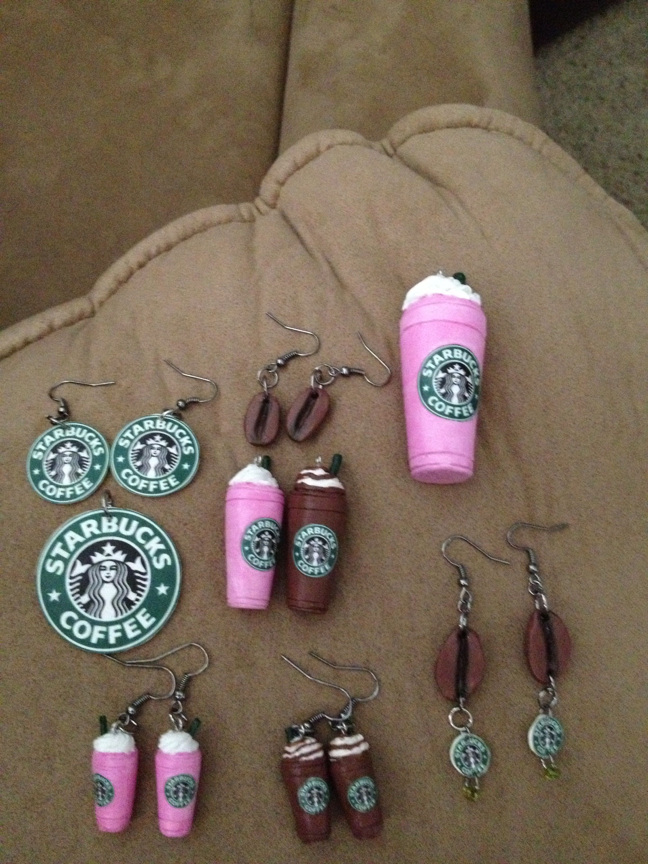 Starbucks jewelry!!!!  Made with oven bake clay.