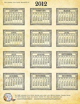 FREE printable Vintage 2012 calendar :)
