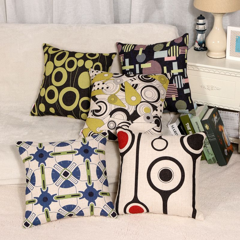 Decorative  Cushion cover linen Black and white geometry  pattern pillow case 45x45 throw pillow Cushion covers