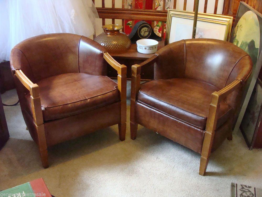 2 ~ Mid Century Modern Vintage HOLLYWOOD REGENCY Brown Leather Barrel Chairs