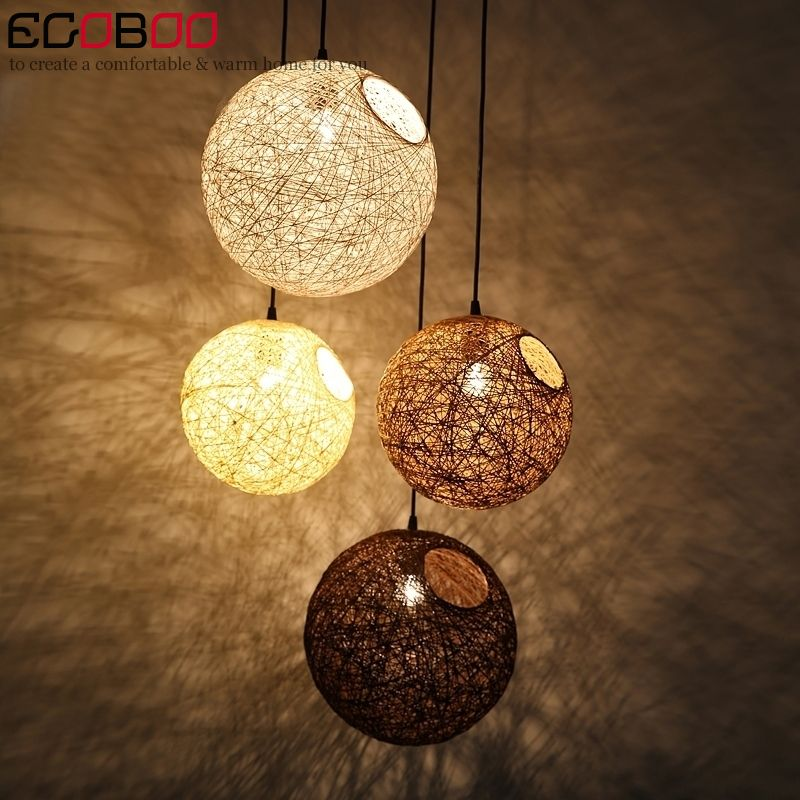 Decorative Rattan Balls Modern Hemp Ball Chandelier Woven Rattan Ball Creative Decorative