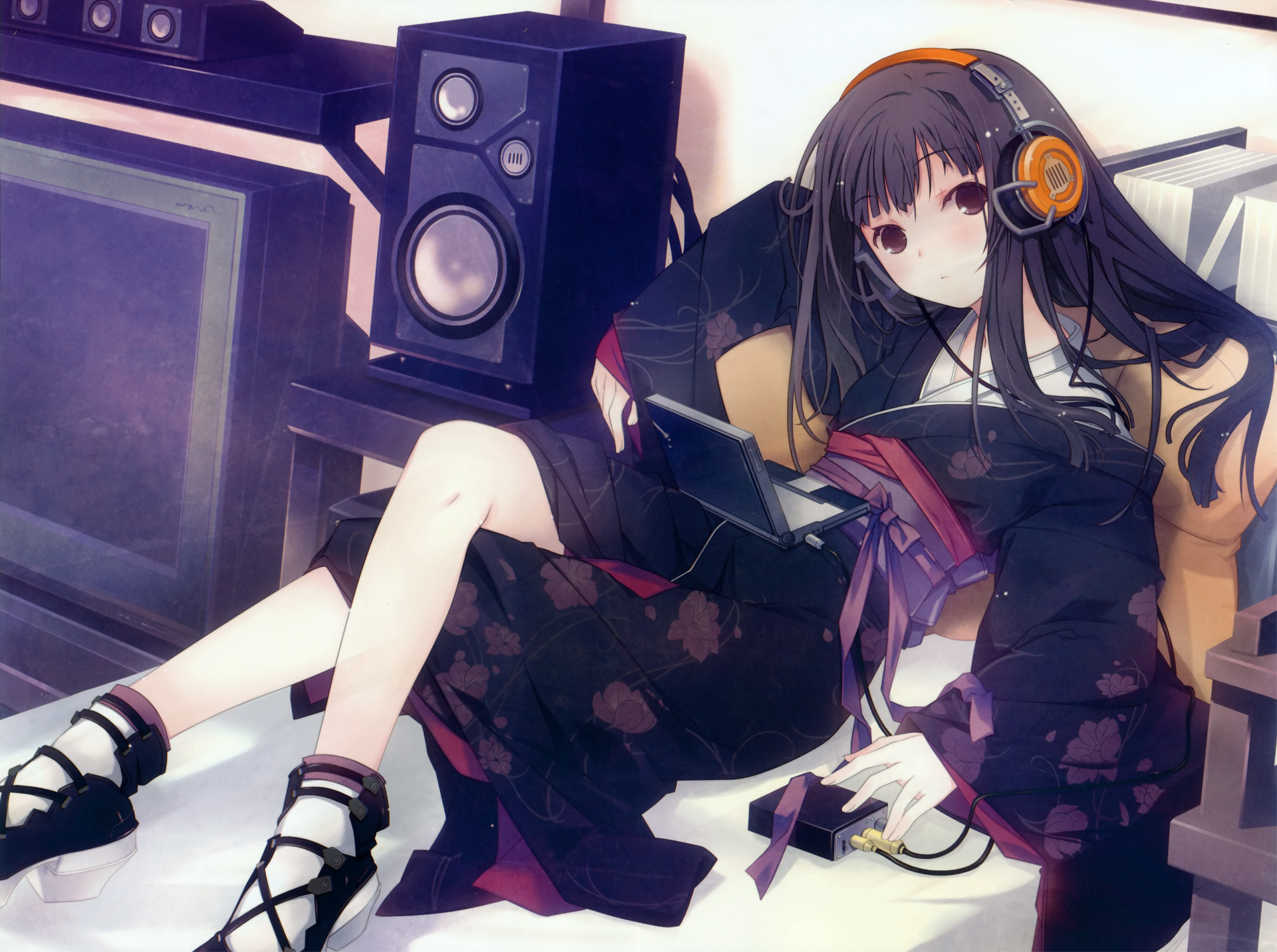 Anime Headphones Girl Anime Long Hair Cute Original Anime Kimono Black Hair Blush Brown Eyes Wallpaper Girl With Headphones Cute Anime Wallpaper Anime Music