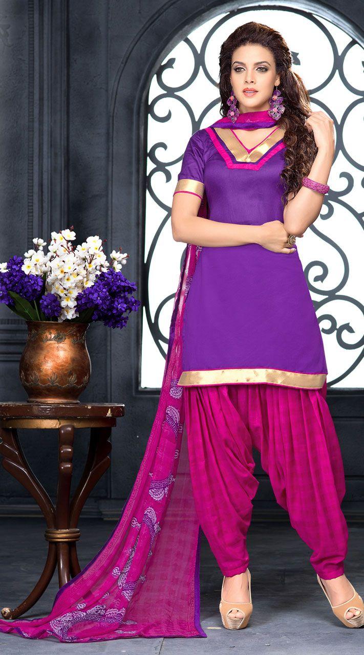 969e87a167 Lovely Purple Cotton Patiala Salwar Kameez With Dupatta | Patiala ...