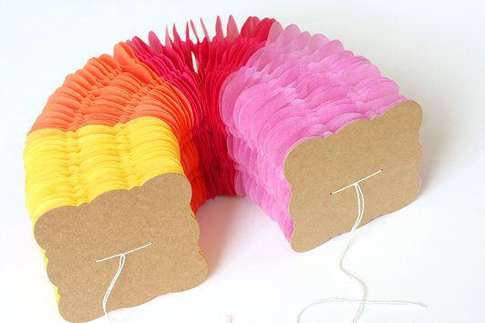DIY honeycomb garland with tissue paper