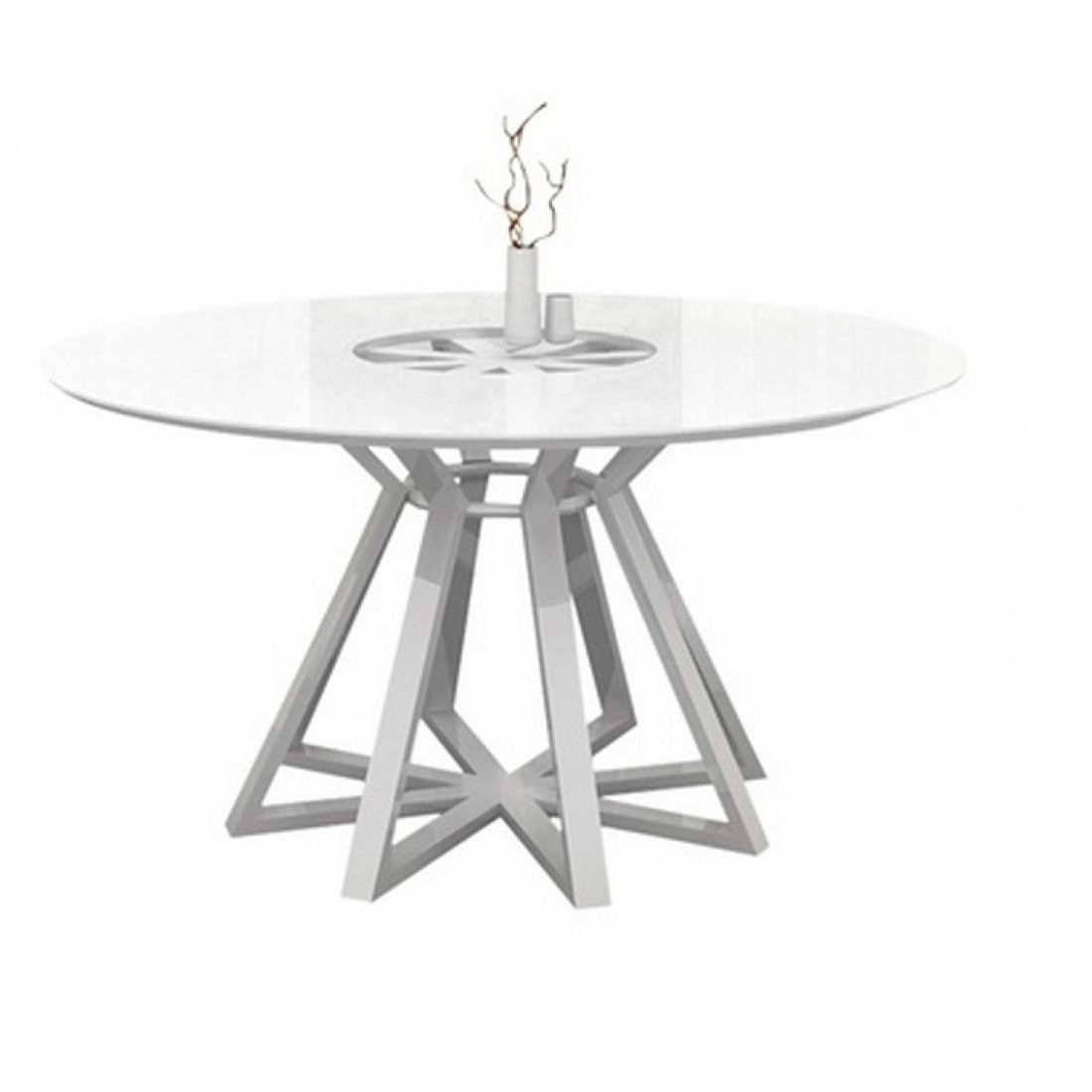 Star High Gloss White Lacquer Dining Table Round Marble