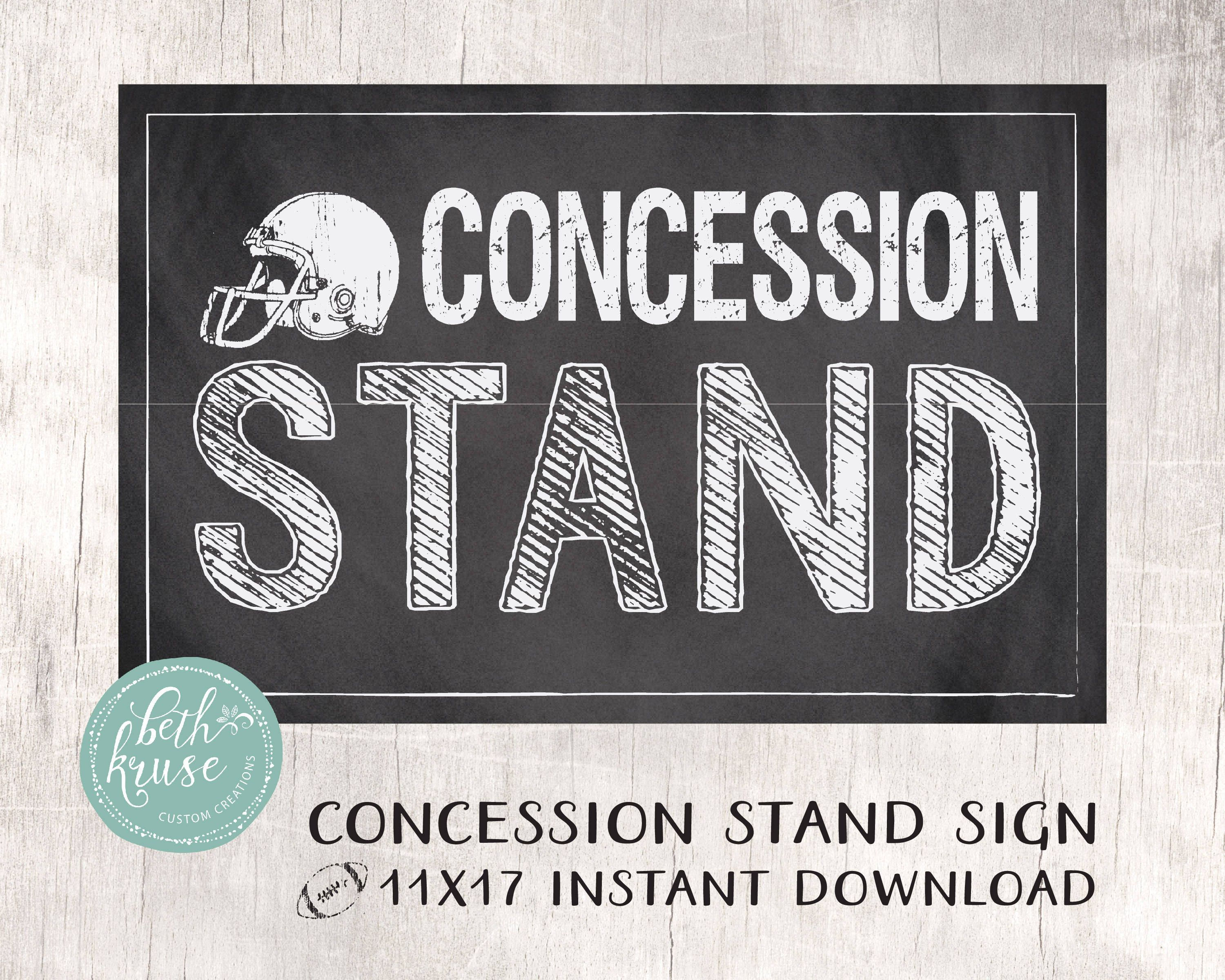 graphic about Concession Stand Signs Printable titled Concession Stand 11x17 Printable Indicator Instantaneous Down load