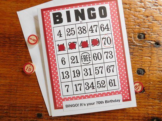 Bingo Birthday Greeting Card 70th Birthday Card 50th Bingo