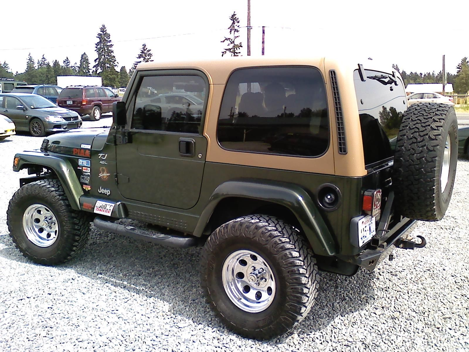 Nice Early Moss Green Tj Just Ditch The Chrome Wheels Jeep Tj Jeep Jeep Wrangler