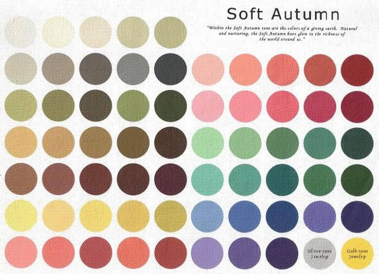 Palette (Toned (Dark/Deep Soft) Winter leaning Deep Autumn Soft can borrow some colors from Soft Autumn palette, because Deep Autumn Soft and Soft Autumn are counterpoint seasons)