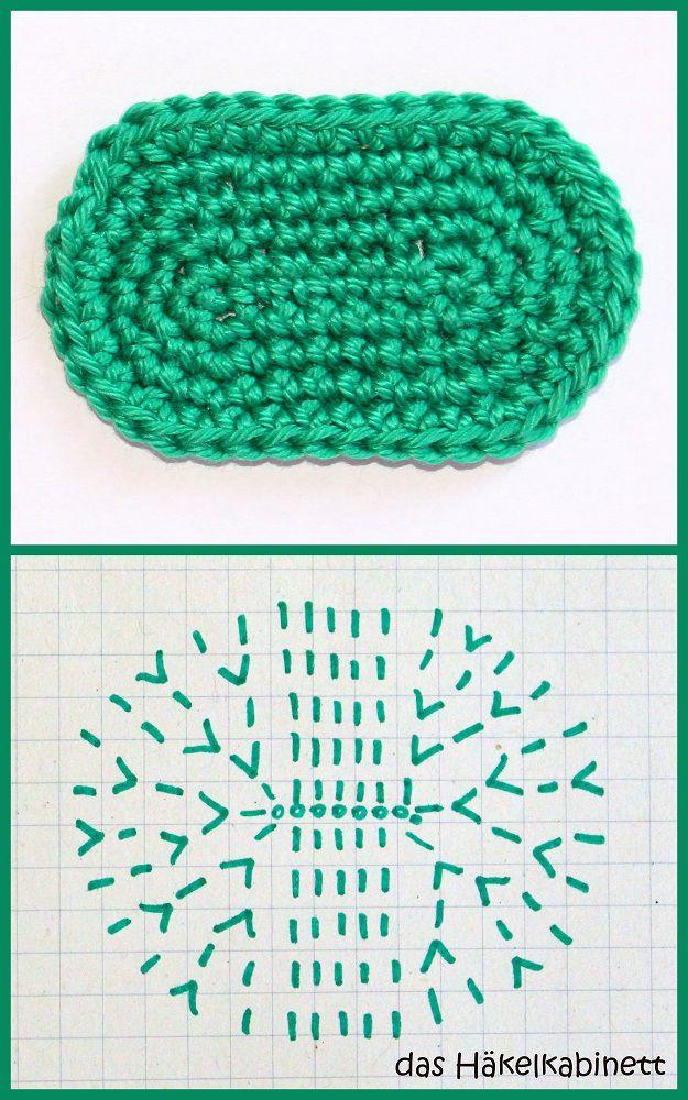 So häkelst du ein Oval | Häkeln, Handarbeiten und Muster