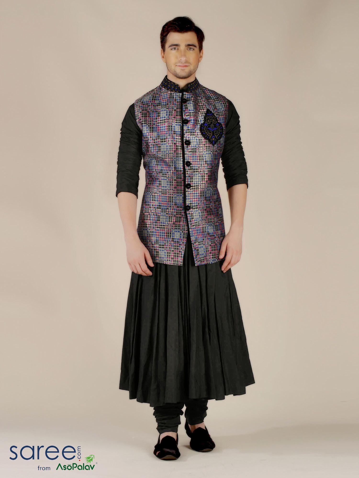Black and grey silk menus suit sherwani