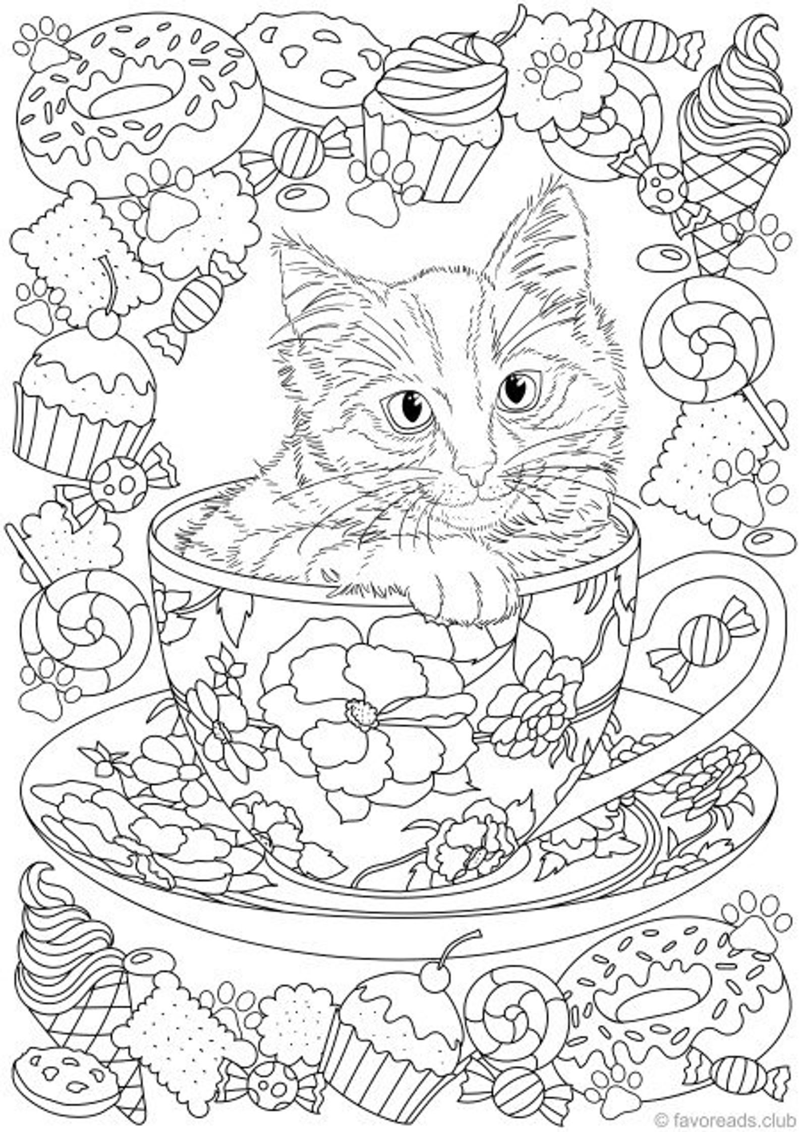 Cats and Dogs Bundle - 10 Printable Adult Coloring Pages ...