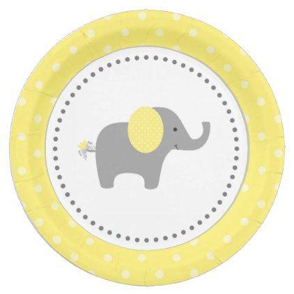 sc 1 st  Pinterest & Yellow and Gray Elephant Paper Plates | Grey elephant