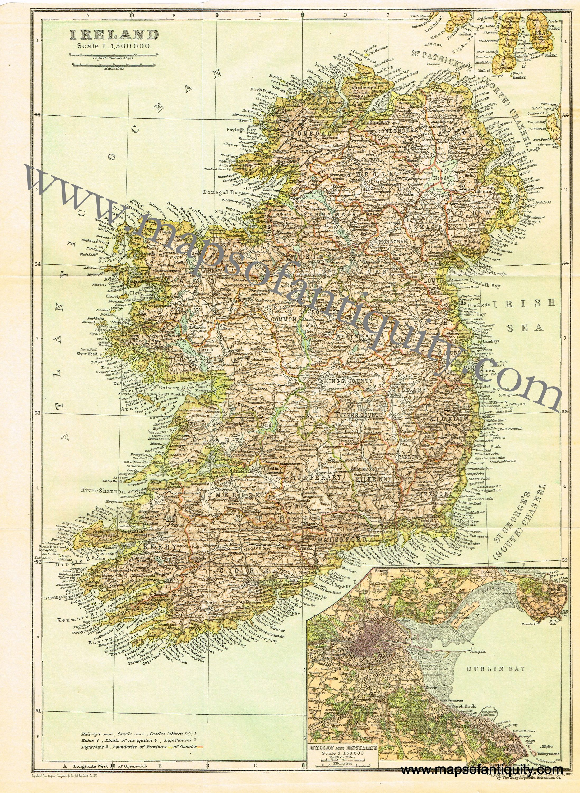 Lighthouses In Ireland Map.This 1910 Map Of Ireland Has An Inset Map Of Dublin And Includes