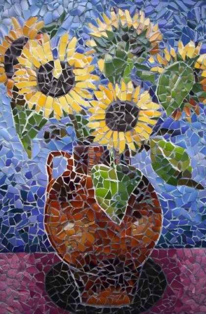 Sunflowers Mosaic Art Mosaic Artwork Sunflower Mosaic