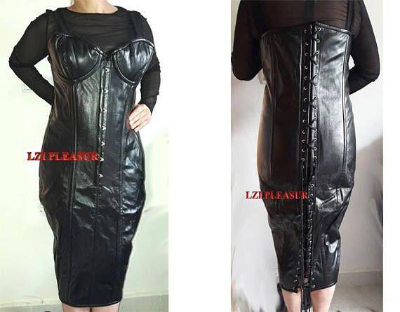 05b66156ede Leather Steel boned Corset dress in 2019