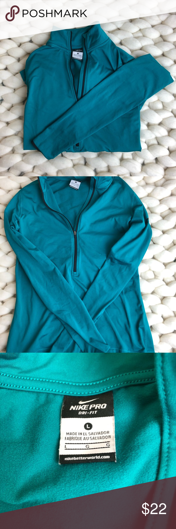 e00518f012a5 Nike Turquoise Cold Weather Run Top Fleece lined Nike Dri Fit cold weather  run top.