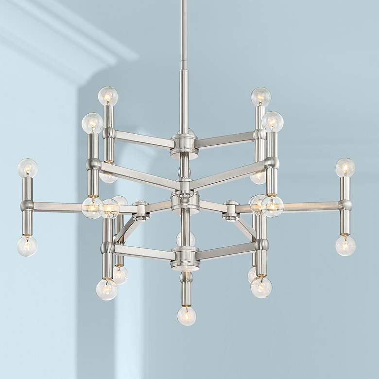 Possini Euro Marya 32 W Brushed Nickel 24 Light Chandelier