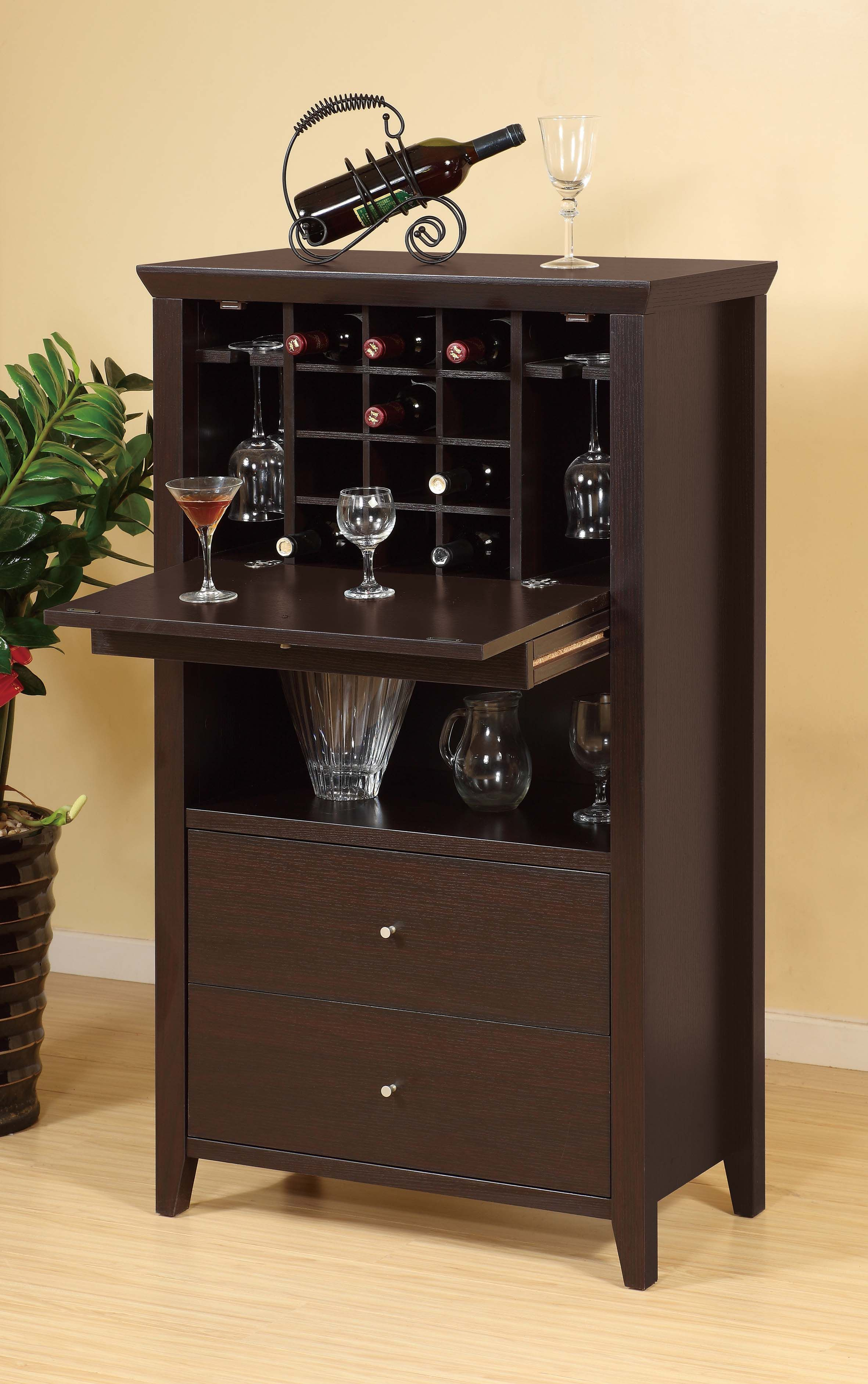 ID USA Furniture Distributor Flip Down Bar Cabinet features a