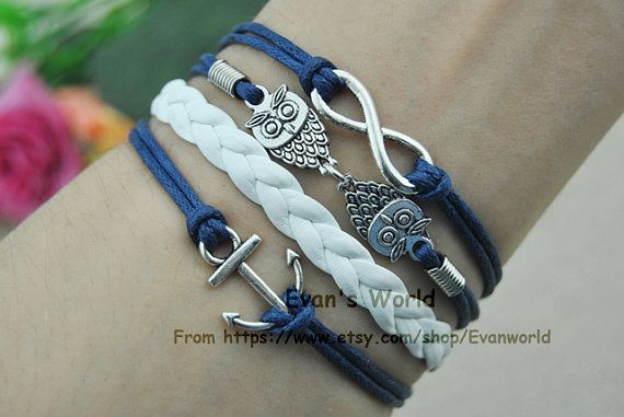 Silver Anchor Bracelet Infinity Bracelet Cute Little by Evanworld, $3.50 Homemade personalized fashion charm bracelet, the best gift of friendship.