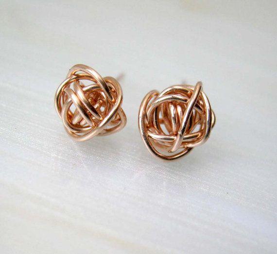 Rose Gold Stud Earrings 14k Posts Bridesmaids Knot Studs
