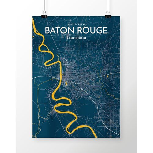 East Urban Home Baton Rouge City Map Graphic Art In Blue Poster Blau Planer