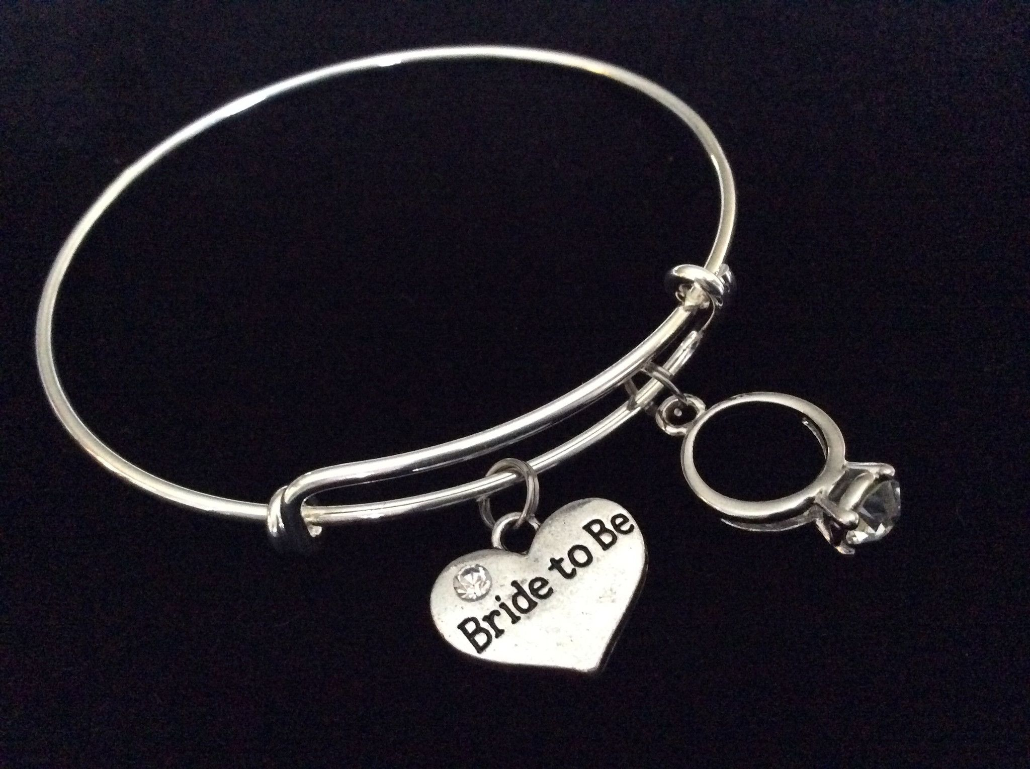 Bride To Be Silver Expandable Charm Bracelet Adjule Wire Bangle Meaningful Wedding Shower Bridal Trendy Gift